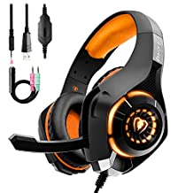 Gaming Headset for PS4 PC Xbox One Bass Over-Ear Headphones with Mic, LED Light, Noise Isolation Features for Laptop Mac Nintendo Switch Games Smartphones PS3(Black Orange)