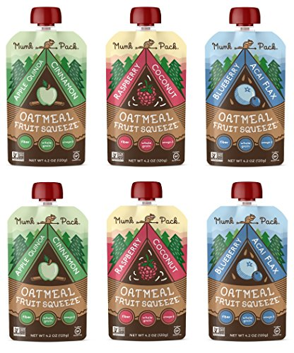 Munk Pack Oatmeal Fruit Squeeze   Variety Pack, Ready-to-Eat Oatmeal On The Go, 4.2 oz, 6 Pack
