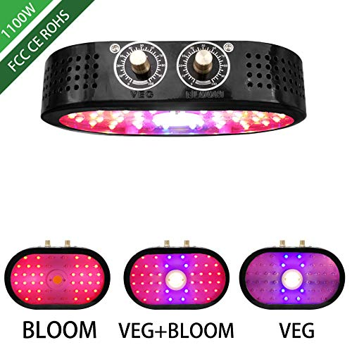 Cotcool LED Grow Light for Indoor Plants Growing Lamp Dimmable Plant Lights Bulb Panel Hanging Kit for Seedling Hydroponics Greenhouse Veg and Flower (1100W)