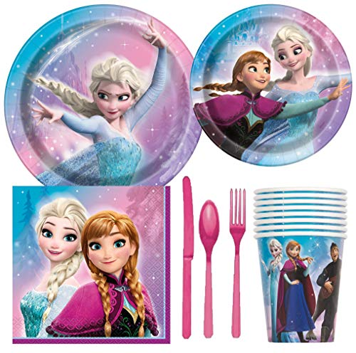 Disney Frozen Birthday Party Supplies Pack Including Cake & Lunch Plates, Cutlery, Cups, Napkins (8 Guests) -
