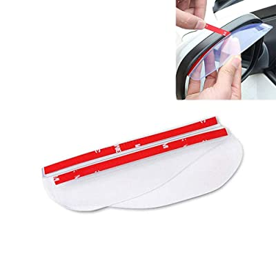 "Yahpetes Car Rear View Mirror Sticker Rain Eyebrow 2 Pcs Car Rain Visor 7.1"" Black Flexible Mirror Cover Carbon Fiber Rear View Mirror Visor Guard for Most Car Truck and SUV (Transparent)"
