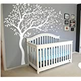 White Blossom Tree Wall Stickers with Flying Birds for Kid Nursery Bedrooms Baby Shower Wall Decor by Generic