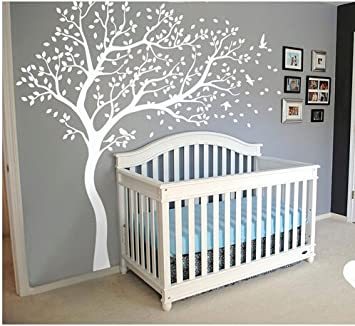 White Blossom Tree Wall Stickers With Flying Birds For Kid Nursery Bedrooms  Baby Shower Wall Decor