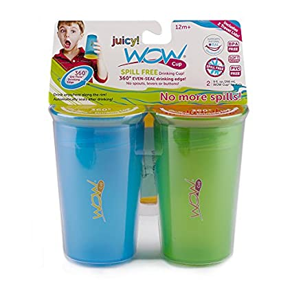 Wow Cup® 360⁰ Spill-Free Cup with Freshness Lids Included, Twin Pack, Blue & Green, 9oz 232