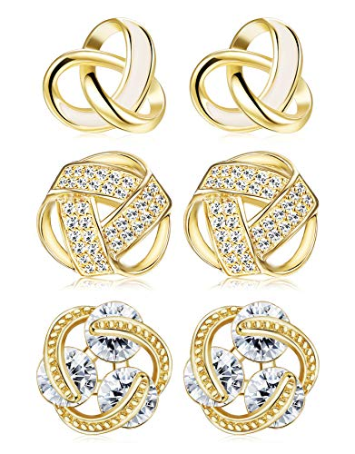 ORAZIO Love Knot Earrings for Women Girls Knot Stud Earrings Set Bridesmaids Gifts Gold Tone