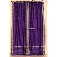 Purple Tie Top Sheer Sari Curtain / Drape / Panel - 80W x 120L - Piece
