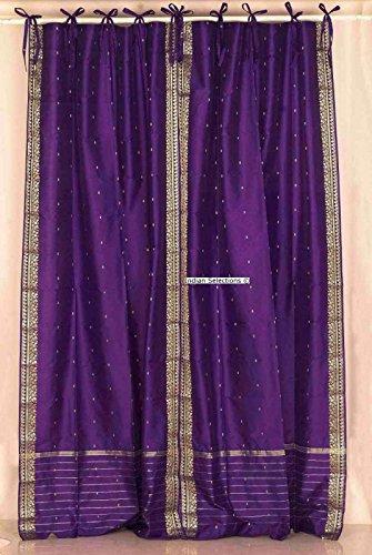 Lined-Purple Tie Top Sheer Sari Curtain / Drape / Panel - 43W x 96L - Piece - Sari Drapes Panels Curtains
