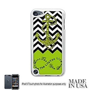 Anchor Live the Life You Love Infinity Quote - Apple Green White Chevron with Anchor iPod Touch 5 5G Hard Case - WHITE by Unique Design Gifts [MADE IN USA]