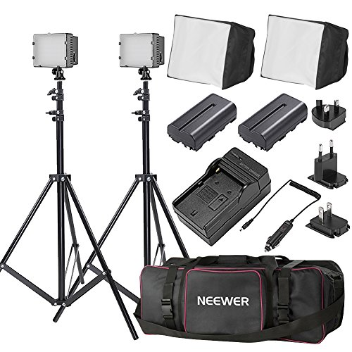 Neewer Double CN-304 Ultra High Power Panel Dimmable LED Video Light Kit with Large Deluxe Bag to Carry All Lights& Accessories for Canon, Nikon, Sony and Other Digital SLR Cameras by Neewer