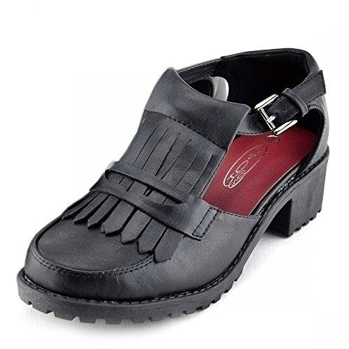 Blocco Donna Nero Basso Scarpe Tacco Casual Footwear Womens Kick W1nTBUq