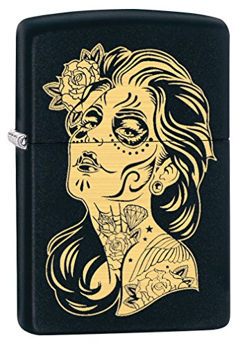 Mexico Usa Cigars - Zippo Lighter: Day of The Dead Girl, Engraved - Black Matte 79494
