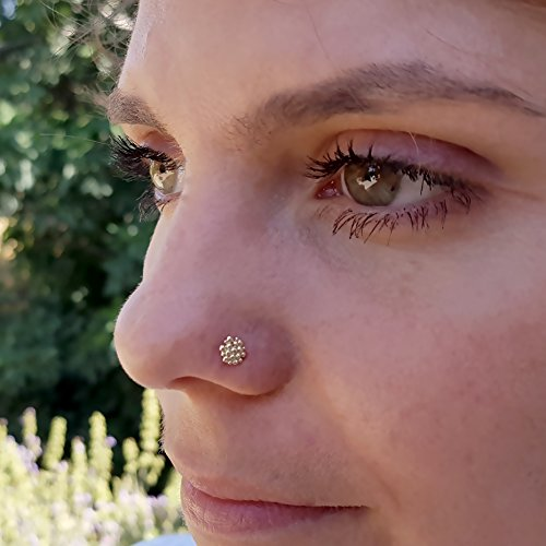 Unique Nose Stud, 14k Yellow Gold Small Indian Style Circle Nose Ring Piercing, Tragus, Helix, Cartilage Earring, 16g, 18g, 20g, ()