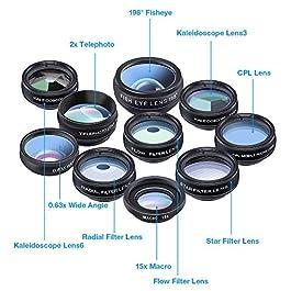 Apexel Phone Camera Lens-Macro Lens+Wide Lens+Fisheye Lens+Telephoto Lens+CPL/Flow/Radial/Star Filter+Kaleidoscope 3/6…