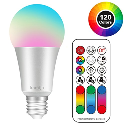 Kamija E26 LED Light Bulb, 10W Dimmable A19 Color Changing Light Bulb 120 RGB Colors + Soft White(2700K) with Remote Control, Timing and Dual Memory (60W Equivalent)