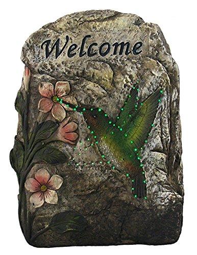 Hummingbird Garden Stone - CC Outdoor Living LED Lighted Solar Powered Welcome Hummingbird Outdoor Garden Stone, 9.5