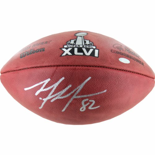 NFL New York Giants Mario Manningham Signed Super Bowl Football by Steiner Sports