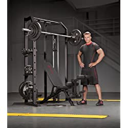 Marcy Olympic Multi-purpose Strength Training Cage with Pull Up Bars / Adjustable Bar Catchers and Pulley SM-3551