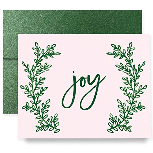 Joy Christmas Holiday Greeting Cards Boxed Set of 8 Shimmer Cards & Green Shimmer Envelopes Folded Pink Wreath Cards 8-Count Box | - Joy Boxed Card Holiday