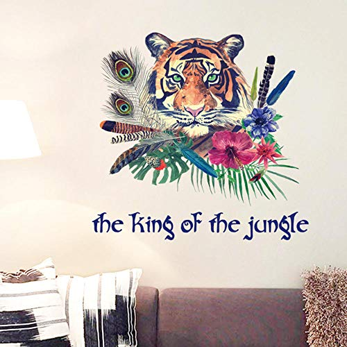 Wall Stickers Murals Personalized Fashion Tiger Feather Wall Sticker Bedroom Entrance Backdrop Home Decor Art Decals 3D Wallpaper Decoration - Fashion Tigers Pack