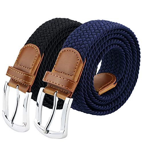 Maikun Braided Elastic Stretch Woven Belt with Leather Tip Nickle Pin Buckle ()
