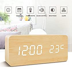 Office Desk Clock-FiBiSonic Black Wooden Clock White LED Digital Voice/Touch Control Desk Silent Modern Style Snooze Alarm Clock with Thermometer, Best Gifts for Friends/Families (Bamboo White)