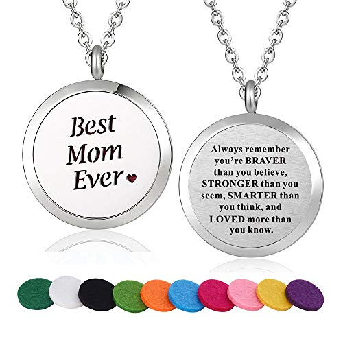 WPFdesign Stainless Steel Best Mom Ever Aroma Therapy Aromatherapy Essential Oil Diffuser Necklace Locket Pendant (Style 28)