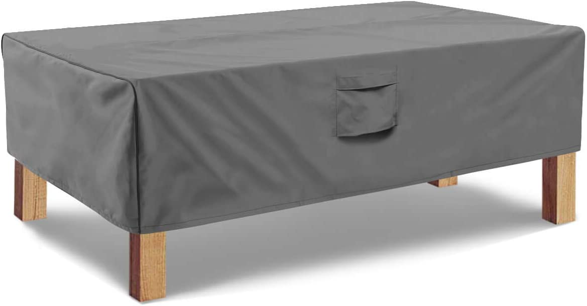 Vailge Rectangular Coffee Table Cover - Outdoor Lawn Patio Furniture Covers with Padded Handles and Durable Hem Cord - Heavy Duty and Waterproof,Fits Large Rectangular Coffee Table (Grey)