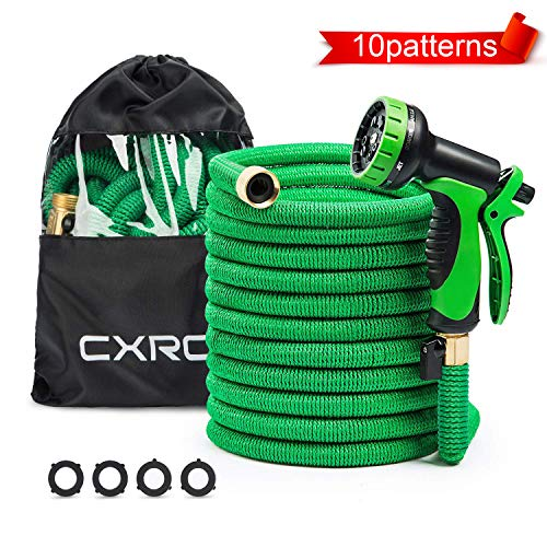 (CXRCY Expandable Garden Hose, Double Latex cores 3 Times expanded car wash Hose, 3/4 inch Solid Brass Joints, Extra-Strength Fabrics - Flexible Expansion Metal Hose with 10)