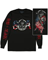 Sons Of Anarchy Reaper Flag SOA Officially Licensed Adult Long Sleeve T-Shirt