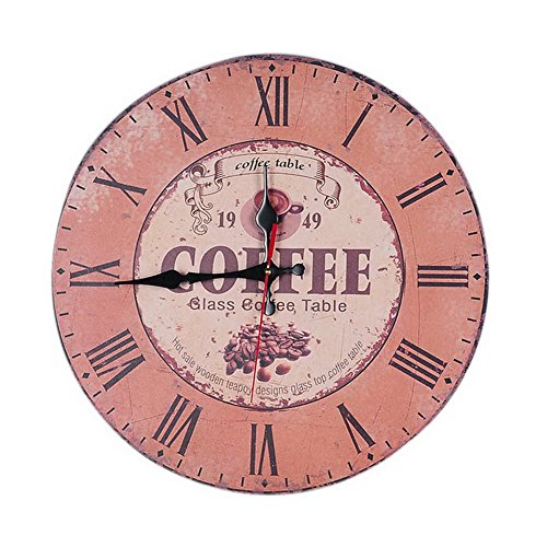 Vintage Retro Decorative Wooden Wall Clock Coffee Time