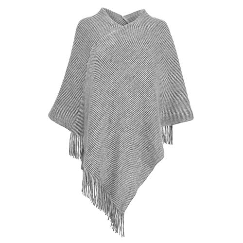 Womens Poncho Sweater V Neck Knitted Pullover Shawls Wraps Capes with Fringes Gifts for Women Mom ()