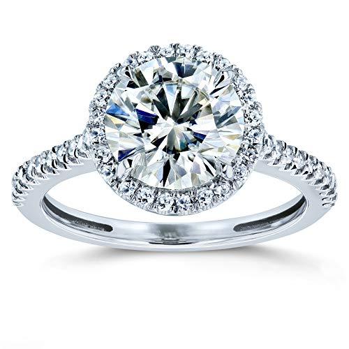 Round Brilliant Kobelli Moissanite and Diamond Halo Engagement Ring 2 1/6 CTW 14k White Gold, 6.5 from Kobelli