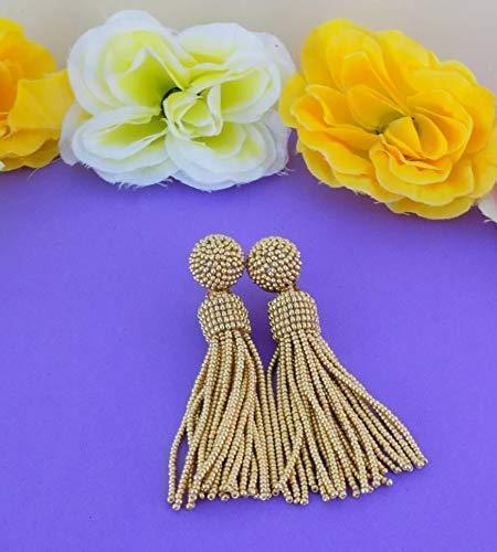 (Luisa Gold Beaded Tassel Fringe Earrings)