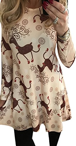 Xmas Women Candy Printed Bodycon Gifts Party Wear Mid Longsleeve Costumes Dress L