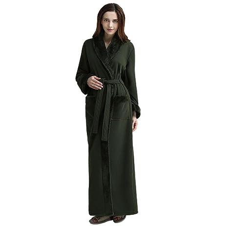 Amazon.com: HXQ Women\'s Thickening Full Length Flannel Bathrobe ...