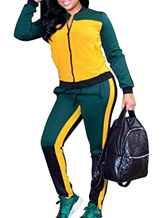 98d3a9795a5 Tempatation Women Jogging Suits Color Block Long Sleeve Jacket Skinny Long Pant  Tracksuit Sets Activewear 2
