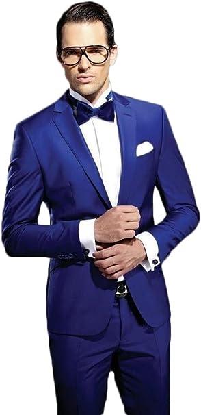 Amazon.com: yanlu Slim Fit Azul Real boda trajes 2 piezas ...