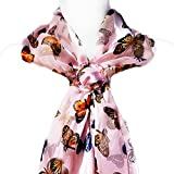 ii Scarf & Slide-Mixed Butterflies on Pink Scarf, PLUS Round Floral Scarf Clip