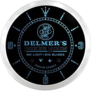 ncpd0962-b DELMER'S Poker Casino Room Beer Bar LED Neon Sign Wall Clock