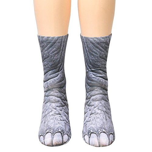 3D Socks Unisex Adult Animal Paw Crew Socks - Sublimated Print (Elephant) -