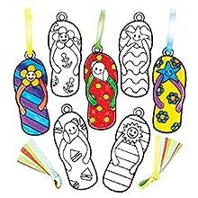 Baker Ross Adornos atrapaluz en Forma de Chanclas Que los niños Pueden diseñar, Decorar y exhibir - Juego de Manualidades Creativas de Verano para niños (Pack de 8).