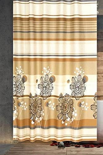 Premium Quality Colorful Flower Design Bathtub Shower Curtain by PeakHut- 100% Polyester Waterproof Fabric Curtain For Bathroom - Includes 12 Curtain Rings, 180cm x 200cm (Colorful Flower)