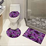 jwchijimwyc Skull U-shaped Toilet Floor Rug set Horror Movie Thirller Themed Flying Skull Heads Halloween in Outer Space Image 3 Piece Bathroom Rug Set Black and Purple