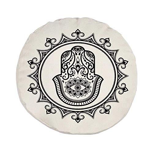 Evil Eye Stylish Round Throw Pillow,Hamsa Hand Drawn Symbol with Evil Eye in Mandala Ethnic Amulet Mehndi Style for Bedroom Living Room,Pillow Case: 17.7