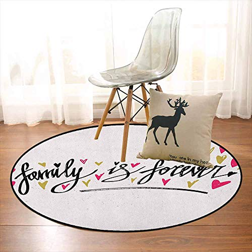 Family Better Protection Inspirational Phrase Family is Forever Hand Writing Cute Hearts Kid Game Carpet D47.2 Inch Pale Coffee Hot Pink Black ()