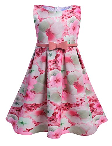 Arshiner Toddlers Little Girls Sleeveless Floral Print Tea Length A-Line Dress with Belt