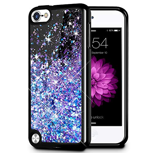 iPod Touch 5 6 7 Case, Caka iPod Touch 7 Glitter Case Starry Night Series Luxury Fashion Bling Flowing Liquid Floating Sparkle Glitter Girly Soft TPU Case for iPod Touch 5 6 7 (Blue Purple)