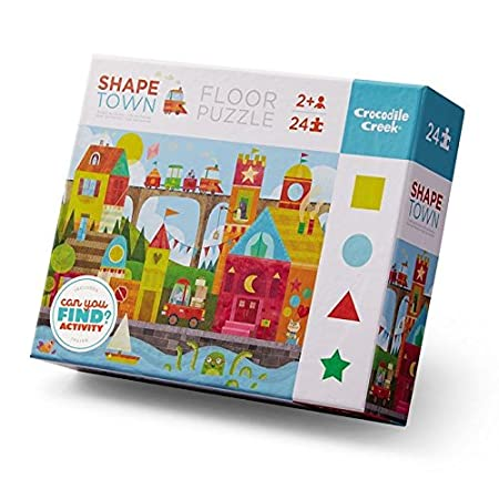 Crocodile Creek 4185-1 Shape Town Blue//Red//Yellow//Green 24 Piece Early Learning Puzzle