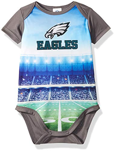 NFL Philadelphia Eagles Unisex-Baby Short-Sleeve Bodysuit, Gray, 3-6 Months