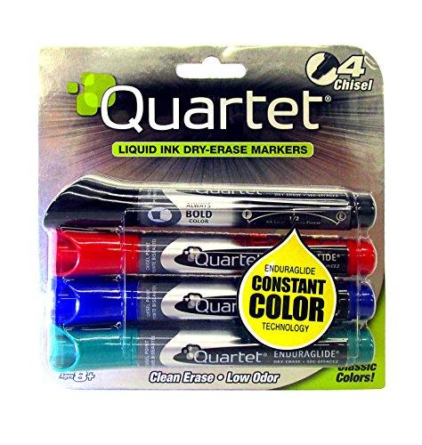 Quartet EnduraGlide Dry Erase Marker, Chisel Tip, Assorted Colors, 4/Set Enduraglide Dry Erase Marker Chisel
